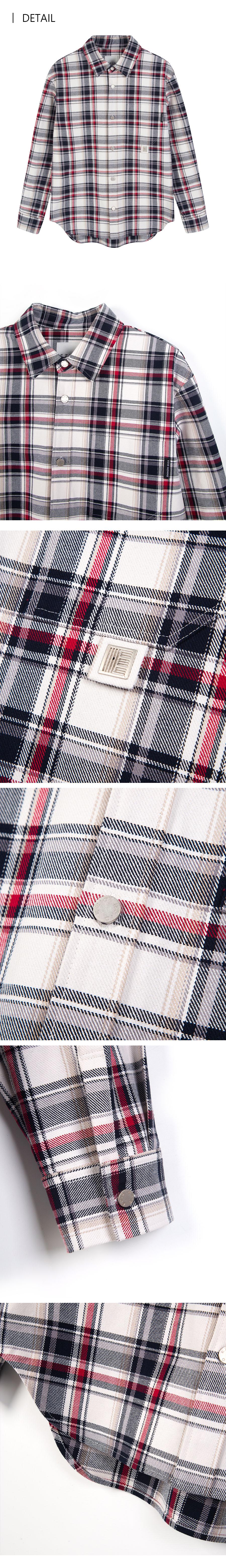 이지오 우먼(EZIO WOMEN) [W]멀티 체크 오버 셔켓-크림 레드